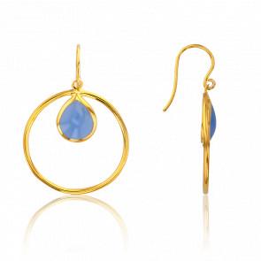 Boucles d'Oreilles Cercle Bleu Ciel Collection Rhea