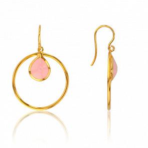 Boucles d'Oreilles Cercle Quartz Rose Collection Rhea