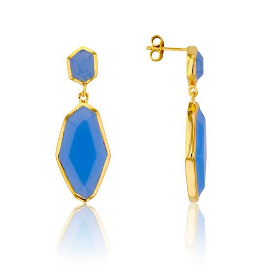 Boucles d'Oreilles Géométriques Bleu Ciel Collection Vesta