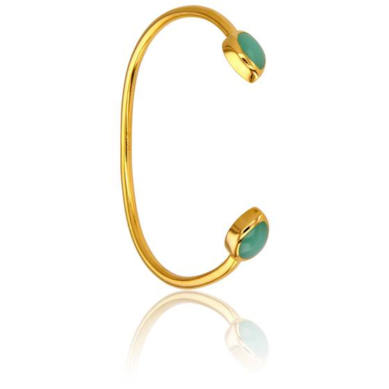 Bracelet Demi-Jonc Calcédoine Verte Collection Artemis
