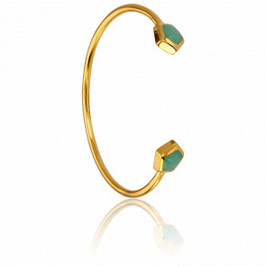 Bracelet Demi-Jonc Calcédoine Verte Collection Vesta