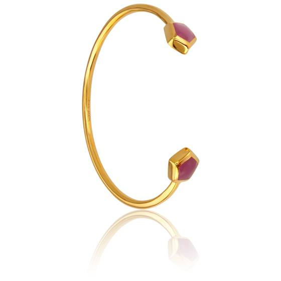 Bracelet Demi-Jonc Tourmaline Rose Collection Vesta