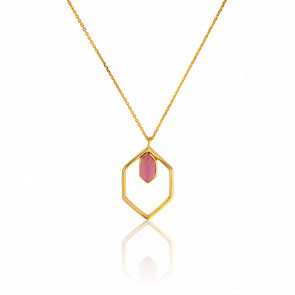 Collier Hexagone Tourmaline Rose Collection Rhea