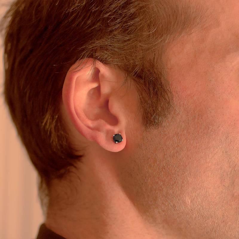 remise chaude meilleur authentique styles classiques Boucle d'oreille diamant noir 1 carat & or blanc 18 carats ...