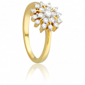Bague Fleur Gracile Or Jaune 18K & Diamants