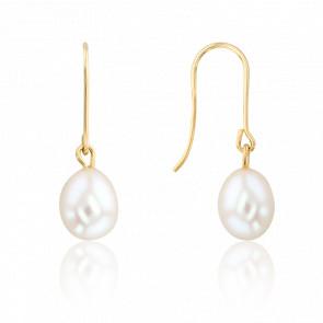 Boucles d'oreilles pendantes, perles blanches et or jaune 18K