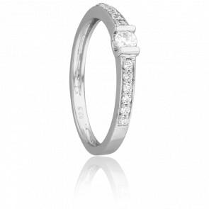 Bague Solitaire Accompagné Or Blanc & Diamants