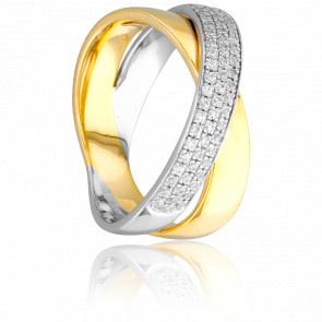 Bague Duo Entrelac 2 Ors & Diamants