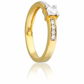 Bague Solitaire 1 Rangée Or Jaune & Diamants