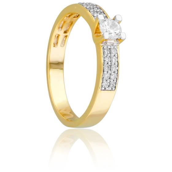 bague solitaire diamant or jaune pas cher
