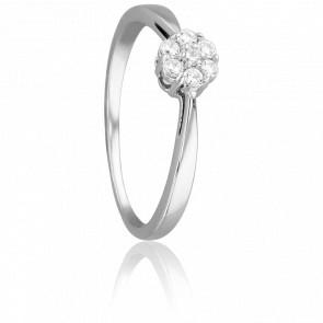 Bague Fleur Elégante Or Blanc & Diamants
