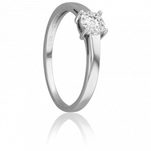 Bague Illusion Solitaire Or Blanc 18K et Diamants