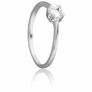 Bague Solitaire Mirage Or Blanc 18K et Diamants