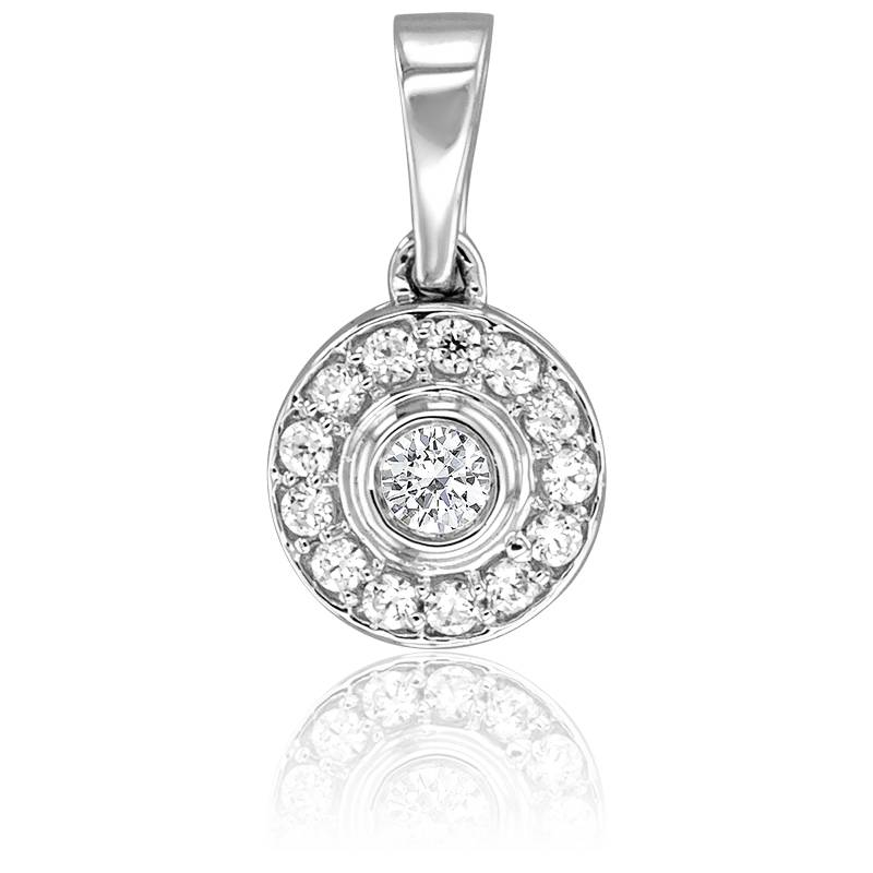 Pendentif Princesse Or Blanc 18K & Diamants