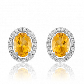Boucles d'oreilles citrine, diamants & or blanc 18 carats