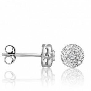 Puces d'Oreilles Princesse Or Blanc 18K & Diamants