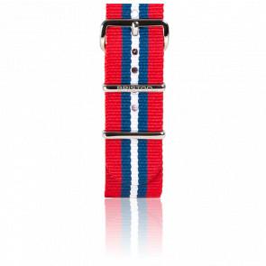 Bracelet Nato Rouge/Bleu/ blanc 245 mm