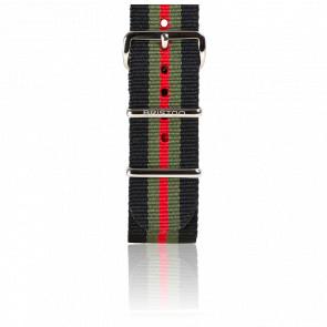 Bracelet Nato Noir/Kaki/Rouge 245 mm