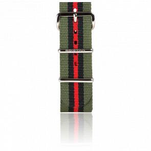 Bracelet Nato Kaki/Noir/Rouge 245 mm
