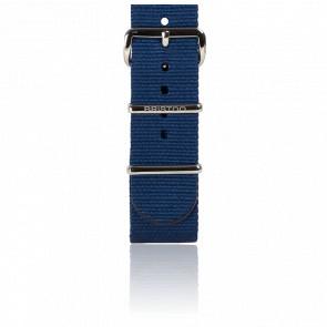 Bracelet Nato 20mm Bleu Marine, Longueur 245mm, boucle acier