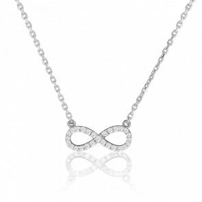Collier Eternity Full Star Diamants & Or Blanc 18K