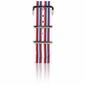Bracelet Nato 20mm Multi-rayures Blanc/Rouge/Bleu, Longueur 280mm, boucle acier