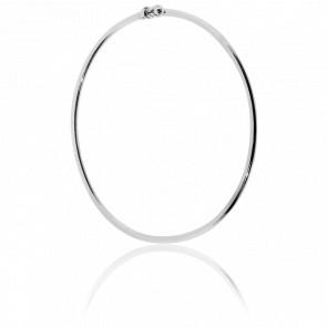 Bracelet Jonc Flexible Or Blanc - Angevine