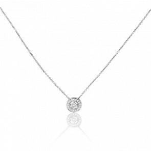 Collier Solitaire Ajourée Or Blanc 9K et Diamants