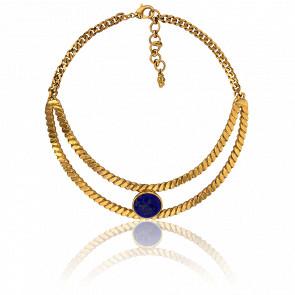 Collier Torsadé Doré et Lapis Lazuli