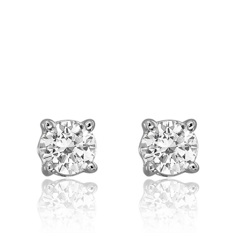 b8f88e6b35f9d Boucles d oreilles montées or blanc et diamants 0.40 carat - Ocarat