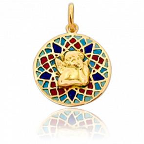 Médaille Vitrail et Ange Sens Or Jaune 18K