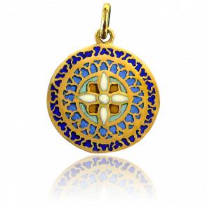 Médaille Vitrail Mont St-Michel Or Jaune 18K