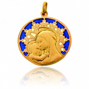 Médaille Vitrail et Vierge Chartres Or Jaune 18K