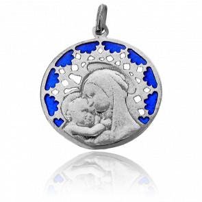 Médaille Vitrail et Vierge Chartres Or Blanc 18K