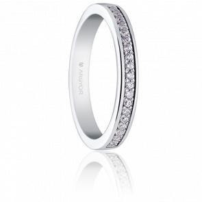 Alliance Luisa 1,50 mm Or Blanc 18K et Diamants