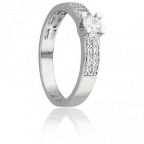 Bague Solitaire Ruban Mirage Or Blanc & Diamants 0.50 ct - Juweel