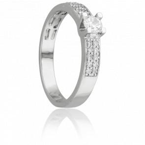 Bague Solitaire Ruban Mirage Or Blanc & Diamants 0.50 ct - Juweel