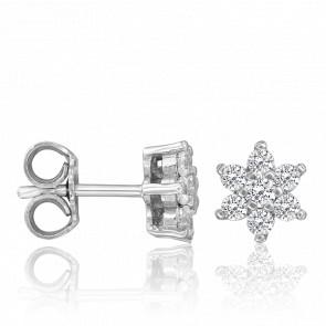 Boucles d'Oreilles Ariella Or Blanc 9K & Diamants 0,48 ct