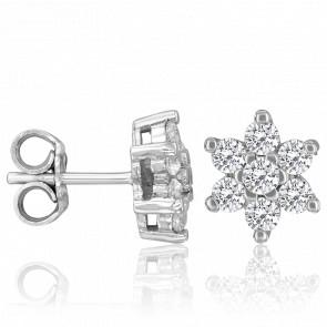 Boucles d'Oreilles Ariella Or Blanc 18K & Diamants 0,87 ct