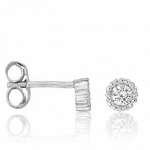 Boucles d'Oreilles Lune Diamants 0,16 ct & Or Blanc 18K