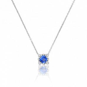 Collier Carré Dentelle saphir & diamants
