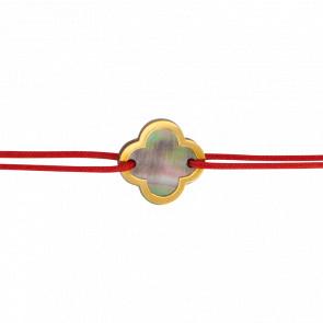 Bracelet Fleur Cordon Rouge Nacre Grise - Bellon