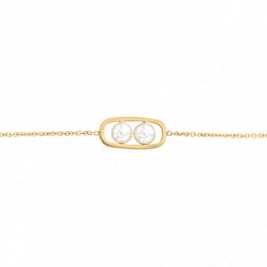 Bracelet Raquette Or Blanc 18K & Perles Ø 4 mm - Bellon