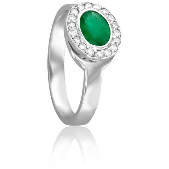Bague Ovale  Emeraude Ø 5 mm & Diamants