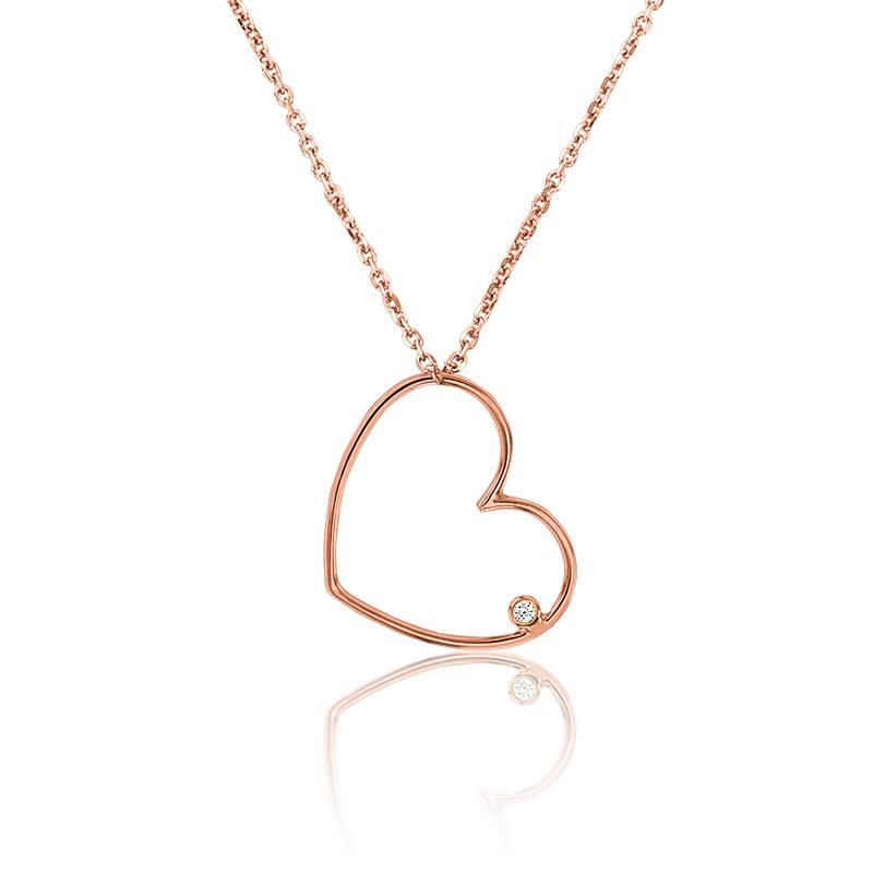 collier simply coeur or rose collier en or blanc 18 carat et diamant de carat ocarat. Black Bedroom Furniture Sets. Home Design Ideas