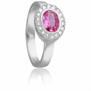 Bague Ovale Saphir Rose Ø 5 mm & Diamants