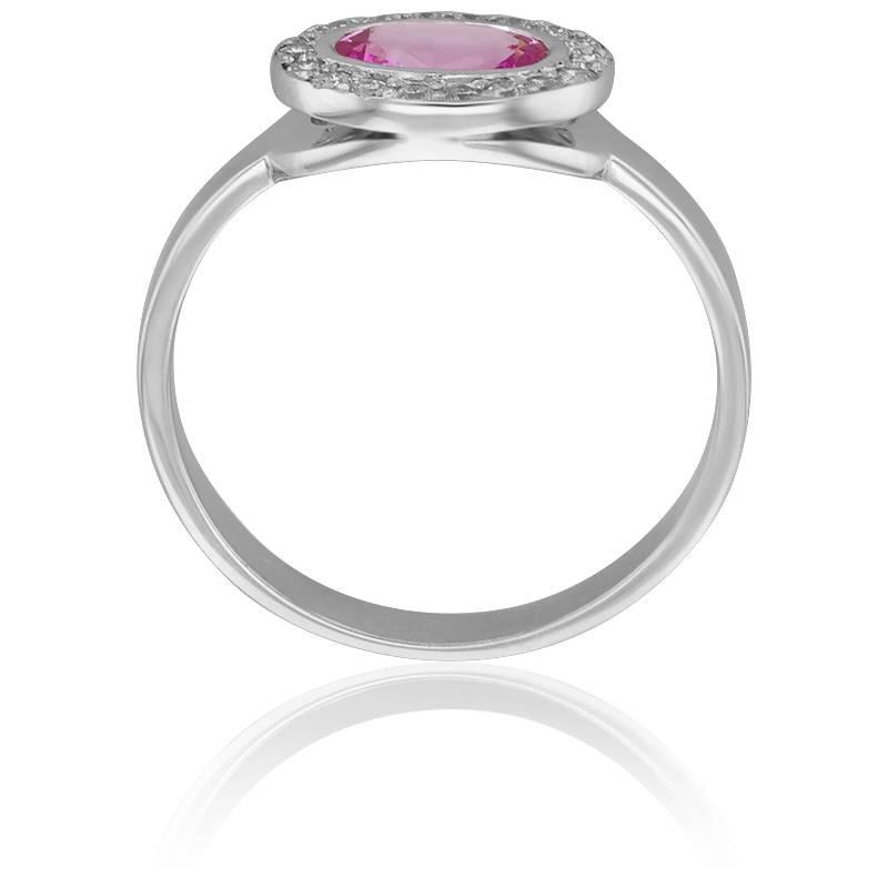 25d6aacb6d2 ... Bague Ovale Saphir Rose Ø 5 mm   Diamants ...