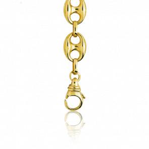 Bracelet Grain de Café Creux, Or Jaune 18K, longueur 18 cm