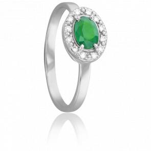 Bague Ovale Emeraude Ø 4 mm & Diamants