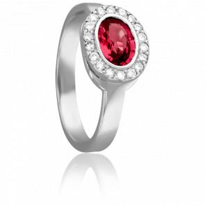 Bague Ovale Rubis Ø 5 mm & Diamants